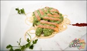 Spinacz- makaron ze szpinakiem i łososiem wędzonym na zimno